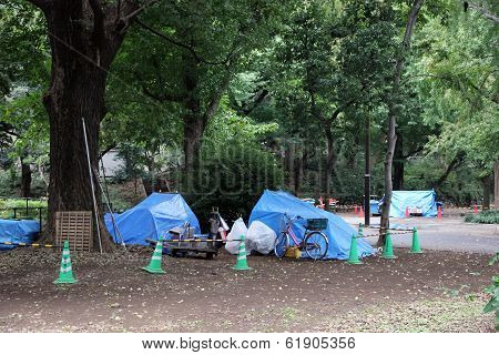 Homeless People's Tents In Tokyo, Japan