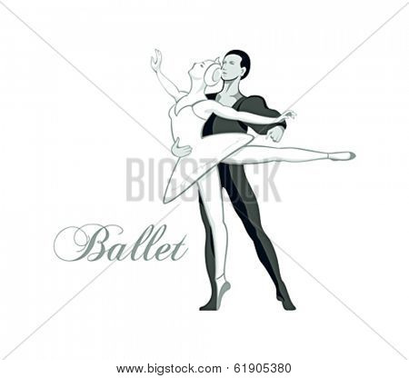 Classic dancing ballet pair isolated