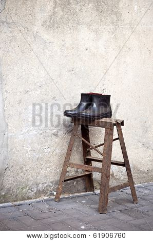Still Life Of A Pair Of Rubber Boots In The Old Town Of Suzhou, China