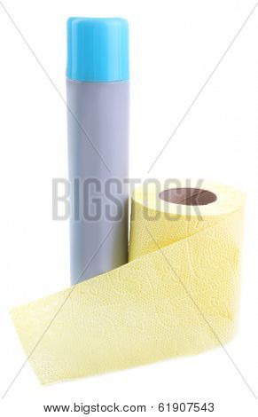 Color toilet paper roll and air fresher. isolated on white