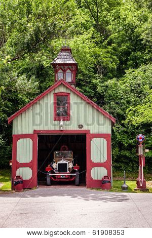 LORETTO, KENTUCKY - JUNE 01, 2013: Image of antique fire station on the grounds of Makers Mark bourbon distillery. Makers Mark has been in operation since 1954 and is a part of Kentucky Bourbon Trail