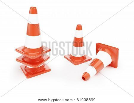 Traffic Cones, Road Construction On A White Background