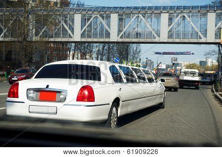 Wedding Limousine On City Street