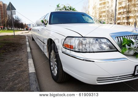 Wedding Limousine On City Street
