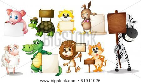 Illustration of the animals with empty signboards on a white background