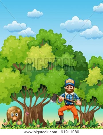 Illustration of a forest with a bear and a lumberjack