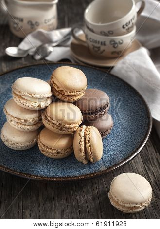 French Macaroons.  Coffee, Chocolate And Vanilla Macarons