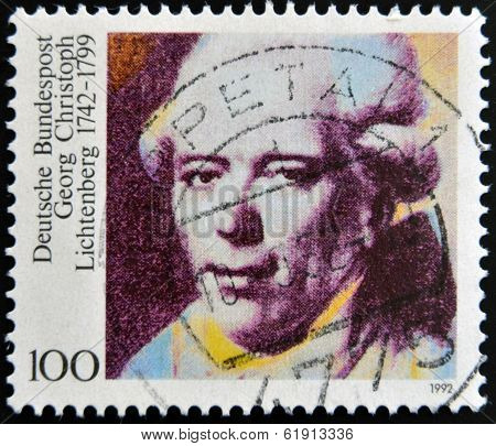 GERMANY - CIRCA 1992: A stamp printed in Germany shows Georg Christoph Lichtenberg circa 1992