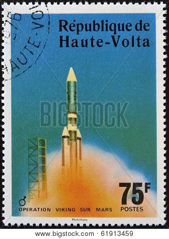 UPPER VOLTA - CIRCA 1976: A stamp printed in Upper Volta dedicated to Operation Viking Sur Mars