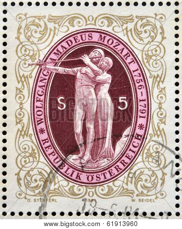 AUSTRIA - CIRCA 1991: stamp printed in Austria shows The Magic Flute by Wolfgang Amadeus Mozart