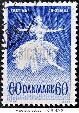 DENMARK - CIRCA 1965: A stamp printed in Denmark shows Ballet Dancer Danish
