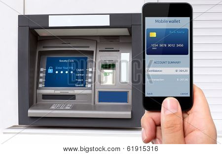 Man Hand Holding The Phone With Credit Card On The Screen Against The Background Of The Atm