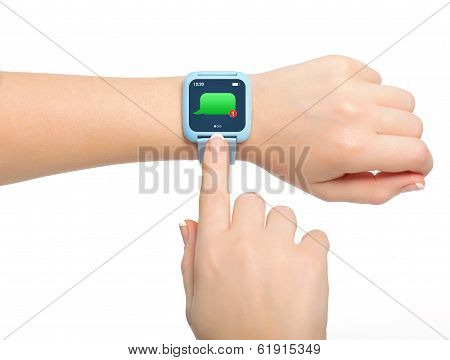 Isolated Female Hands With Smartwatch With Message On The Screen