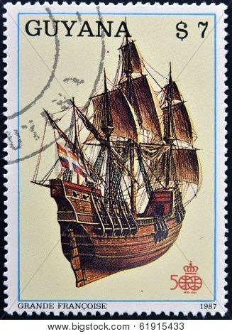 GUYANA - CIRCA 1987: A stamp printed in Guyana shows ancient marine ship Grant French circa 1987