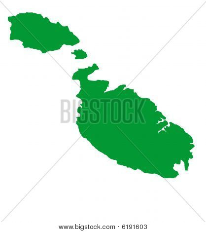 Map Of Malta Isolated On White