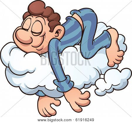 Man sleeping on a cloud.Vector cartoon illustration with simple gradients. All in a single layer.