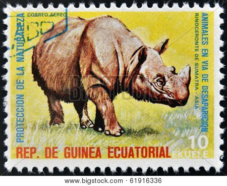 EQUATORIAL GUINEA - CIRCA 1974: Stamp printed in Guinea shows Sumatran rhinoceros Asia
