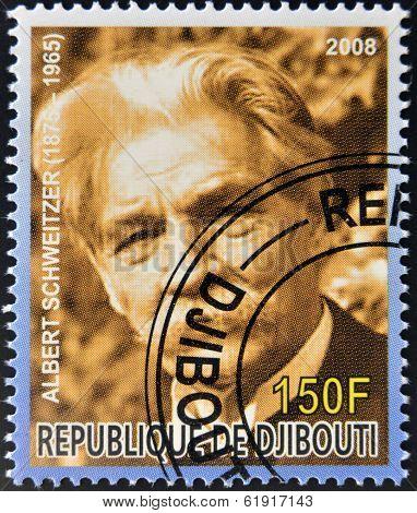 DJIBOUTI - CIRCA 2008: stamp printed in Djibouti  shows Albert Schweitzer