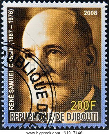 DJIBOUTI - CIRCA 2008: stamp printed in Djibouti shows Rene Samuel Cassin