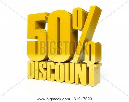50 Percent Discount. Golden Shiny Text.