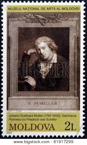 MOLDOVA - CIRCA 2007: Stamp printed in Moldova dedicated shows Friedrich von Schiller