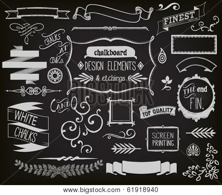 Chalkboard Design Elements and Etchings - Blackboard clip art and design elements,  including frames, ribbons, banners, dividers, branches, brackets and typography