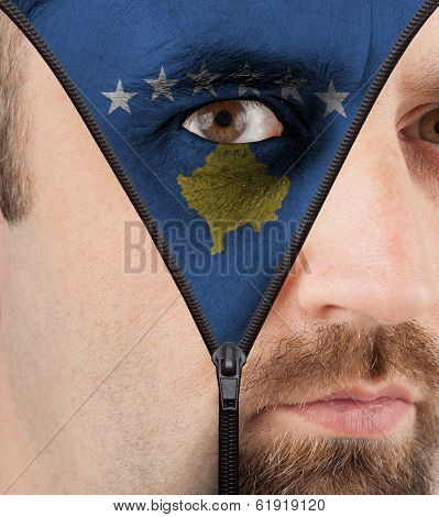 Unzipping Face To Flag Of Kosovo