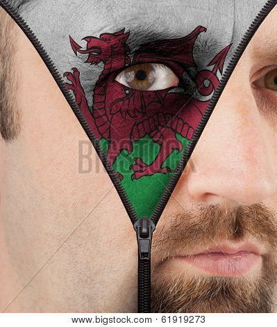 Unzipping Face To Flag Of Wales