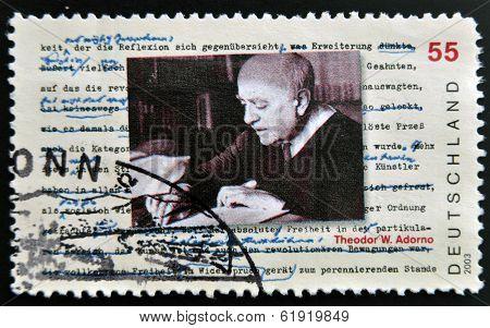 GERMANY- CIRCA 2003: stamp printed in Germany shows Theodor Adorno Philosopher circa 2003