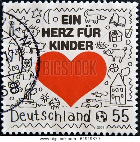 GERMANY - CIRCA 2008: A stamp printed in Germany shows a heart for children circa 2008