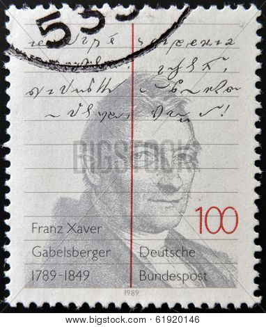 GERMANY - CIRCA 1989: A stamp printed in Germany shows Franz Xaver Gabelsberger circa 1989