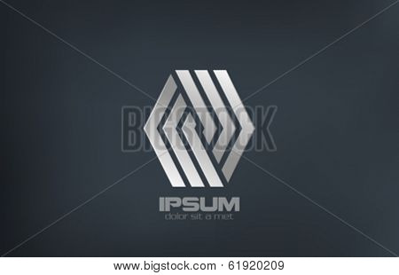Business Fashion Luxury metal vector logo design template. Silver Rhombus abstract looped ribbon shape. Creative infinity loop concept icon.