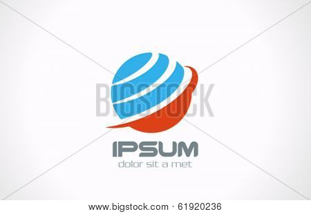Global earth planet abstract network vector logo design template. Internet communications network creative concept icon.