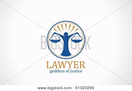 Lawyer symbol Scales vector logo design template. Legal Law icon. Themis silhouette. Attorney