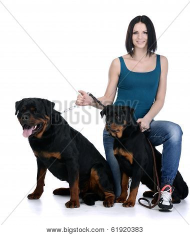 Woman With A Rottweiler Dog