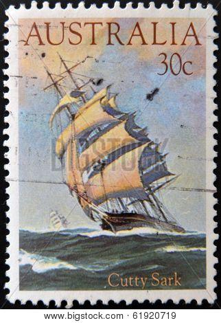 AUSTRALIA - CIRCA 1984: stamp printed in Australia shows ship Cutty Sark circa 1984