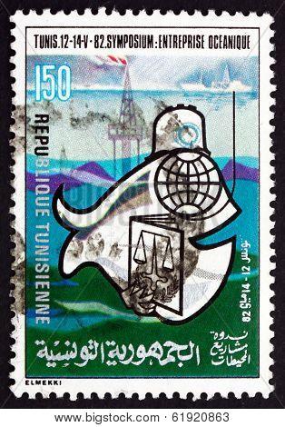 Postage Stamp Tunisia 1982 Oceanic Enterprise Symposium, Tunis