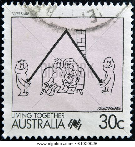 AUSTRALIA - CIRCA 1988: A Stamp printed in Australia shows the Caricature of Welfare Cartoon