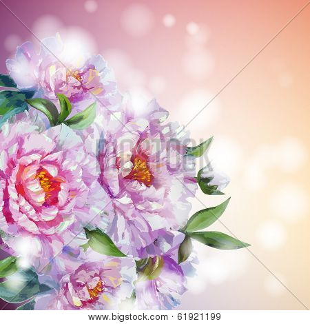 Peonies flowers background. Spring flowers invitation template card