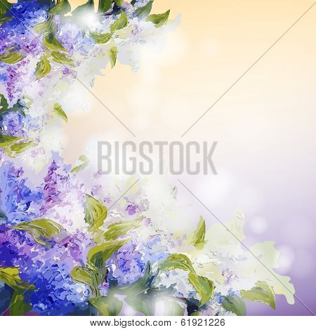 Lilac flowers background. Spring flowers invitation template card