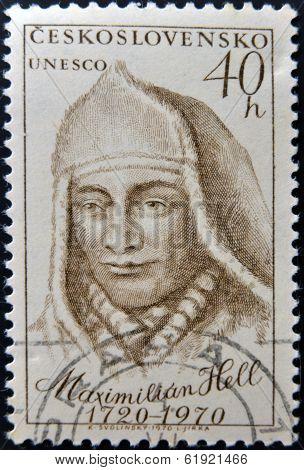CZECHOSLOVAKIA - CIRCA 1970: A stamp printed in Czechoslovakia shows Maximilian Hell Slovakian