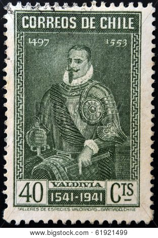 CHILE - CIRCA 1941: A stamp printed in Chile shows the conqueror Pedro de Valdivia circa 1941