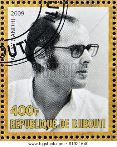 DJIBOUTY - CIRCA 2009: A stamp printed in Djibouty shows Sanjay Gandhi circa 2009