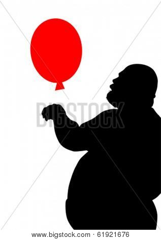 Fat man with a red balloon on white background