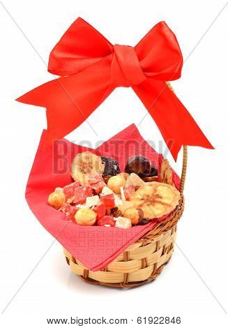 Candied Fruits, Candied Jellies And Nuts In The Basket