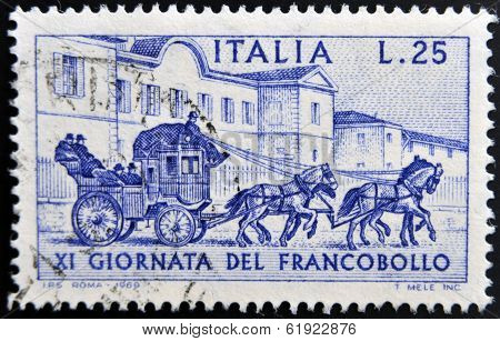 ITALY - CIRCA 1969: a stamp printed in Italy shows Sondrio-Tirano Stagecoach 1903 circa 1969