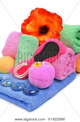 Bath Towels, Pumice, Glass Pebble And Flower