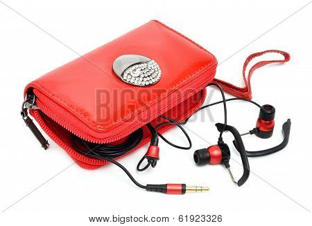 Mobile Phone Bag And Headphones