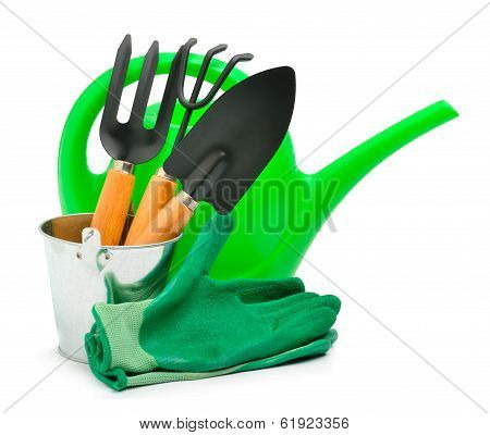 Watering-can, Rake, Pot, Rubber Gloves