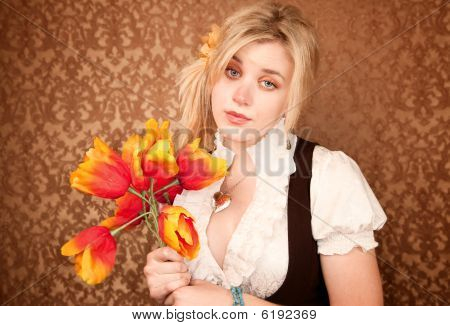 Pretty Sad Woman With Plastic Flowers